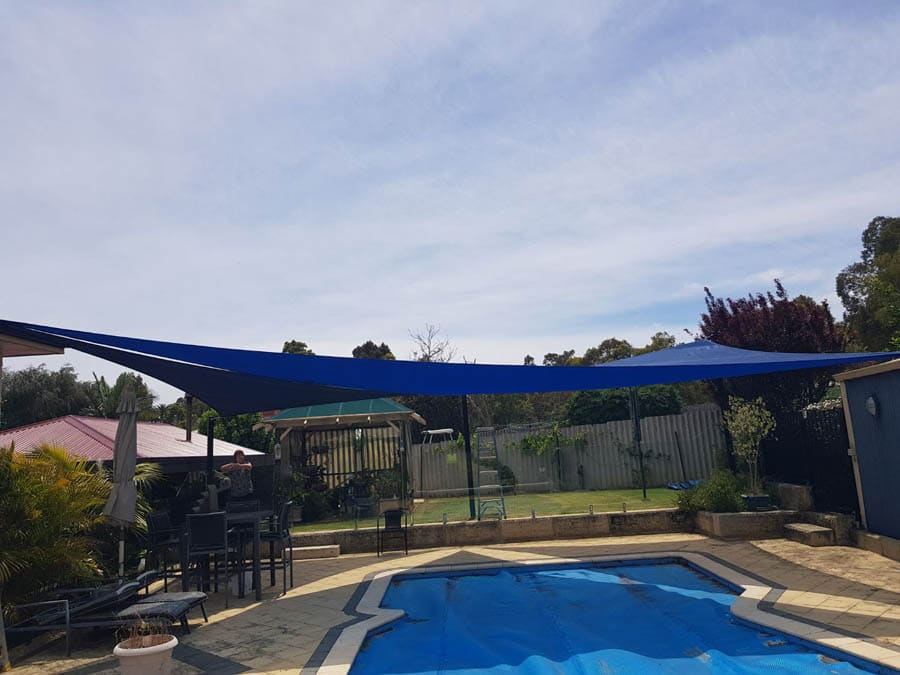 Blue Shade Sails for Pool - Stuart Bell Shade Sails