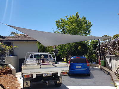 Shade Style for Car Garage - Stuart Bell Shade Sails