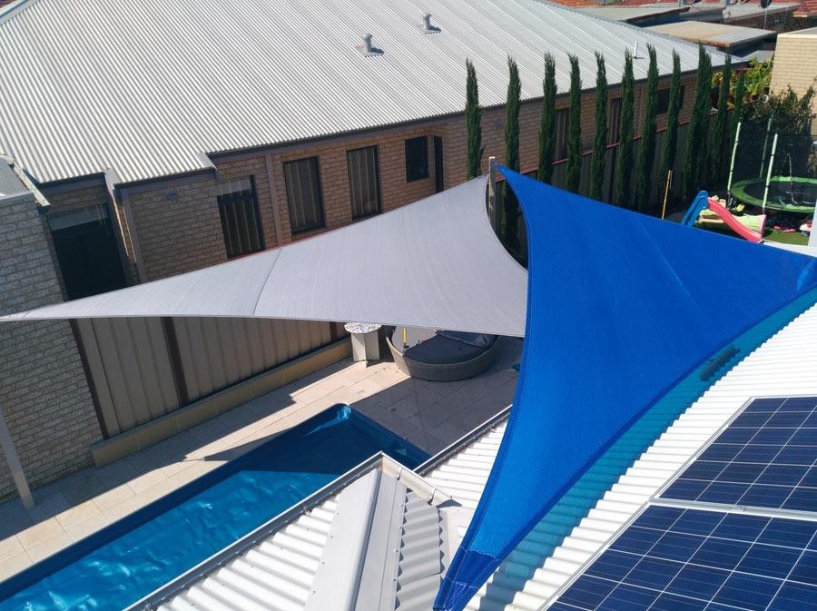 2 Color Pool Shade Sails - Stuart Bell Shade Sails